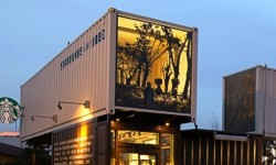 A Starbucks Drive Thru Built From Recycled Shipping Containers
