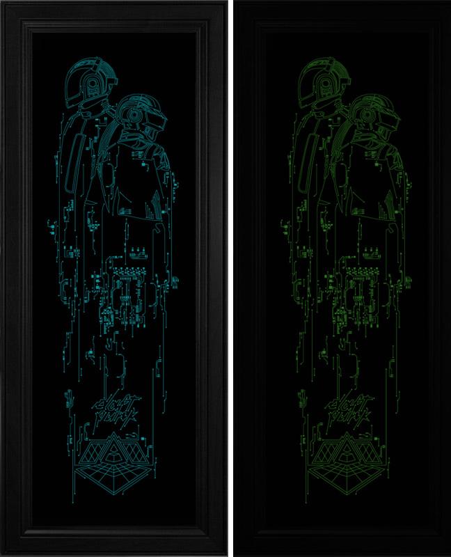 2 glow in the dark 39 daft punk 39 prints by dan sherratt for Daft punk mural