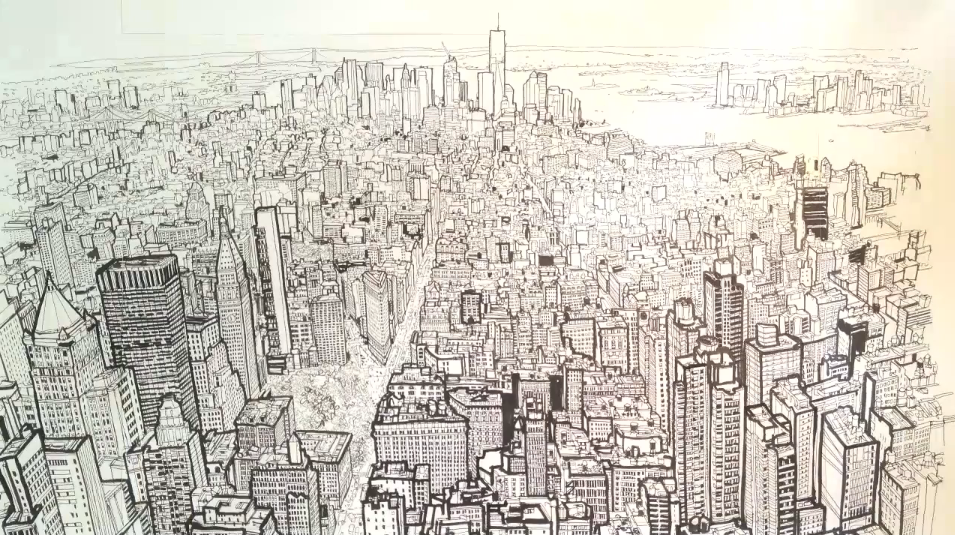 Patrick vales timelapse drawing of the new york skyline