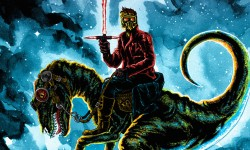 Starlord Riding A Raptor In Tim Doyle's 'Jurassic Galaxy'