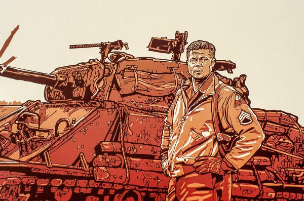New Flesh Prints Fury poster Brad Pitt detail